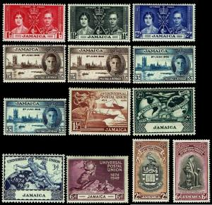 1937-53 Jamaica Common Issues - Most OGLH - F/VF+ - CV$14.20 (ESP#3536)