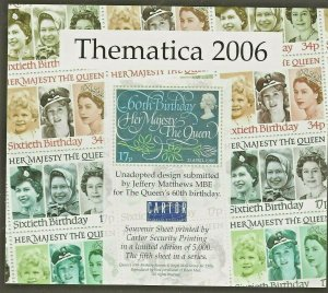 THEMATICA 2006 MINIATURE SHEET-QUEENS BIRTHDAY-JEFFERY MATTHEWS ESSAY