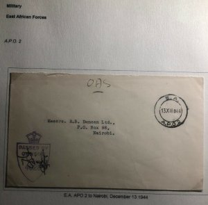 1944 East Africa Force APO 2 Censored OAS Cover To Nairobi Kenya