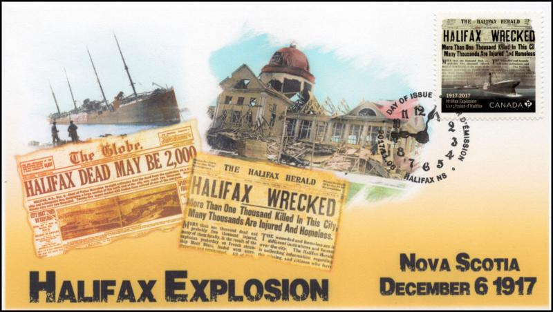 CA17-015, 2017, FDC, Halifax Explosion, Nova Scotia, Day of Issue,