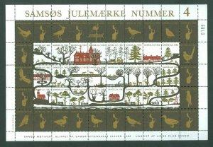 Denmark. Christmas Sheet Local Samso  # 4  Lions Club 1982. Owl.Eagle.Animals.