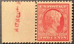 #367 – 1909 2c Lincoln, carmine, perf 12. Left Edge. MNH, OG.