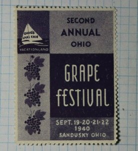 Grape Festival OH 1940 Company Brand Poster Stamp Ad