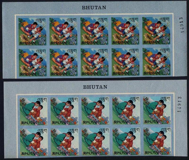 Bhutan 86-86e imperf block of 10 MNH Scouts