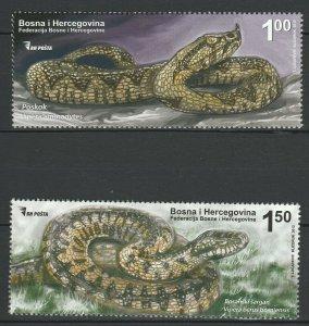 Bosnia and Herzegovina 2012 Fauna Snakes 2 MNH stamps