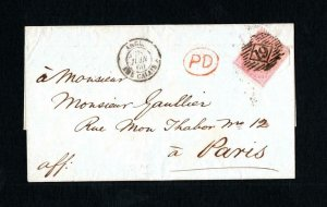 4d NO CORNER LETTERS USED ON 1860 WRAPPER TO FRANCE
