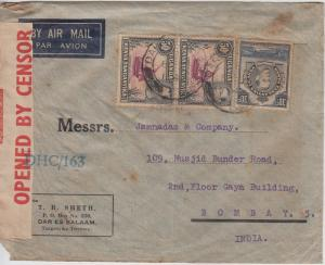 K.U.T.  1942  Daressalam  Cover To India Censored  2 Scans  62132