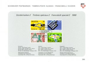 Switzerland 824-7 used with FDC cancel on Swiss PTT collection sheet