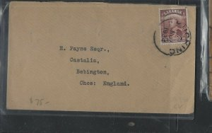SARAWAK COVER  (PP2712B) 1934 8C BROWN BROOKE SINGLE FRANK COVER TO ENGLAND