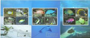 PENHRYN  2013  FISH  DEFINITIVE SET OF THREE SHEETLETS  MINT NEVER HINGED