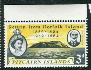 PITCAIRN ISLAND; 1961 early QEII issue fine Mint hinged value, 3d