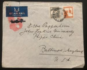 1939 Tel Aviv Palestine Airmail Cover To Baltimore MD Usa