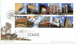 Great Britain 2017 FDC Landmark Buildings Architecture   Sc# 3622-3631 se ten...