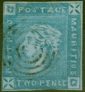 Mauritius 1859 2d Blue SG37 Early Impression Good Used Fresh Example CV £3750