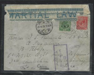 INDIA IEF+GB KGV 1D (P1708BB) 1915 MARTIAL LAW TAPE CENSORED TO AUSTRALIAN BATT