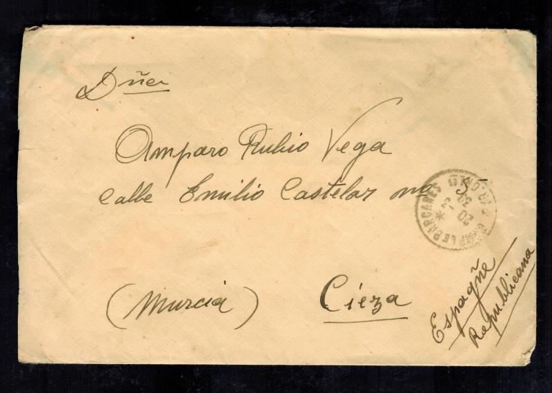 1939 Bareares France Concentration Internment Camp Cover to Republican Spain