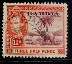 GAMBIA GVI SG152b, 1½d brown-lake & vermilion, FINE USED.