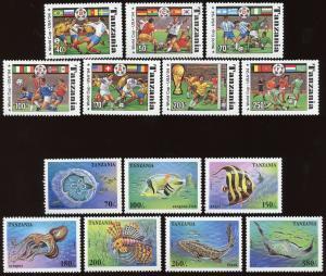 Tanzania Sc # 1174A - 1174G,1404 - 1410.  MNH - 2 Complete Sets. 2017 SCV $17.25