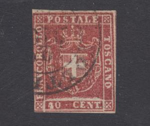 Tuscany Sc 21a used. 1860 40c carmine Coat of Arms, 3 margins, nice color, Cert.