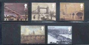 Great Britain Sc 2069-73  2002 London Bridges stamp set mint NH