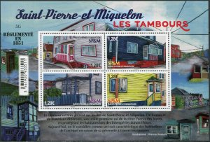 Saint Pierre and Miquelon 2021. Drum doors in residential buildings (MNH OG) M/S