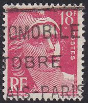France 654 Hinged USED 1951 Marianne 18Fr