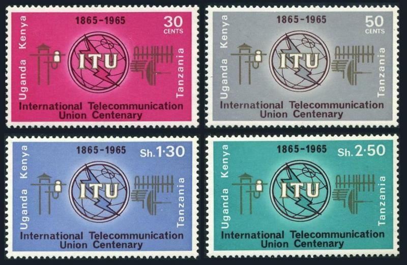 Kenya-Uganda-Tanzania 152-155,MNH.Michel 140-143. ITU-100,1965.Emblem.