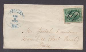**US 19th Century Cover SC# 147 Atkinson Depot, NH, 4/10/1873 Green CDS, DPO1