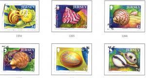 Jersey Sc 1207-12 2006 Sea Shells stamp set used