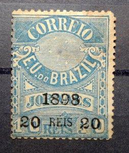 BRAZIL 1898 SC# 136 - 20r on 10r Blue - Black Surcharge Vivid Color MH NO GUM