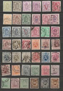 BELGIUM - Assortment of 54 used stamps.