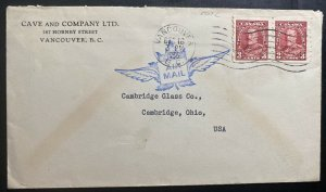 1936 Vancouver Canada Airmail Coil Stamp Cover To Cambridge OH USA