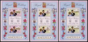 Anguilla Charles and Diana Royal Wedding MS x 3 SG#464-466 SC#444-446a