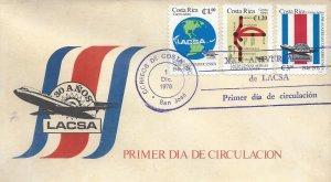 COSTA RICA LACSA AIRLINES 30th ANNIV,GLOBE,MAP,EMBLEM,FLAG Sc C677-C679 FDC 1976