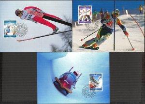 Liechtenstein 1993 Winter Olympics Games Lillehammer -94 3 Maxi Cards FDC