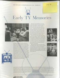 USPS COMMEMORATIVE PANEL #839 EARLY TV MEMORIES #4414