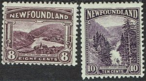 NEWFOUNDLAND 1923 PICTORIAL 8C AND 10C