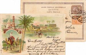 Egypt 1m and 3m Sphinx and Pyramid 1899 Port Said PPC (Ile de Rodah) to Phila...
