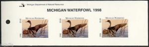 MICHIGAN #23T 1998 STATE DUCK STAMPTOP STRIP OF 3 PINTAIL  by Dietmar Krumrey