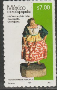 MEXICO NEW ISSUE $7P POPULAR ARTIFACTS 2021. SELF-ADHESIVE. MINT, NH. VF.