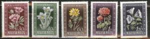 HUNGARY Scott 906-910 MH* 1950 Flower set