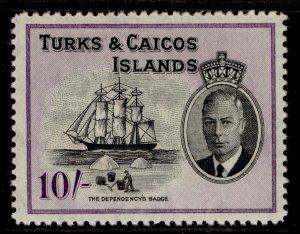 TURKS & CAICOS ISLANDS GVI SG233, 10s black & violet, M MINT. Cat £28.