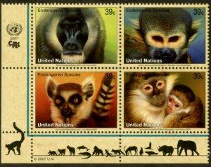 UNITED NATIONS Sc# NY 925-8 GE 465-8 VI 388-91  2007 Endangered Species BL4 MNH