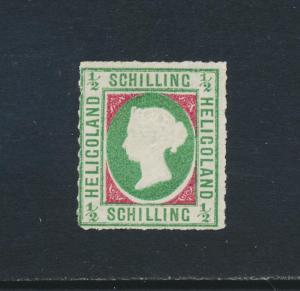 HELIGOLAND 1867-8, ½sh +CERTIFICATE, VF UNUSED SG#1 (SEE BELOW)