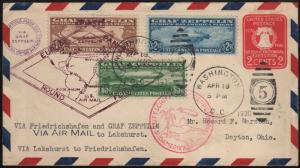 #C13-C15 ON #U522 ENTIRE FDC ZEPPELIN FLIGHT COVER CV $12,500 WL7623DW