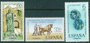 SPAIN Scott 1497-1499, MNH** Founding of Caceres set 1967