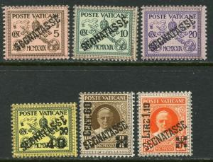 VATICAN Sc#J1-J6 1931 Postage Due Complete Set OG Mint Hinged