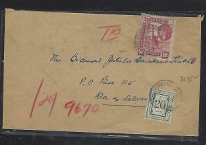 KENYA,UGANDA,TANGANYIKA (P0511B) 1956 QEII 10C SHORT PAID POSTAGE DUE 20C LOCAL