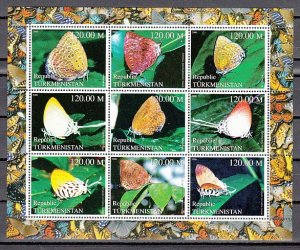 Turkmenistan, 2000 Russian Local. Butterflies sheet. ^