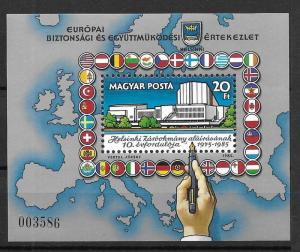 Hungary MNH S/S 2945 Helsinki Agreement 10th Anniversary 1985